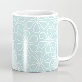 Abstract Flower Outlines White on Duck Egg Blue Coffee Mug