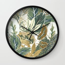 Festive, Tropical, Garden, Green and Gold Wall Clock
