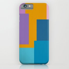 Happy Color Block Geometrics in Yellow, Blue, Purple, and Pink iPhone Case