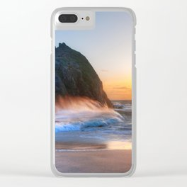 Waves Sunset Clear iPhone Case