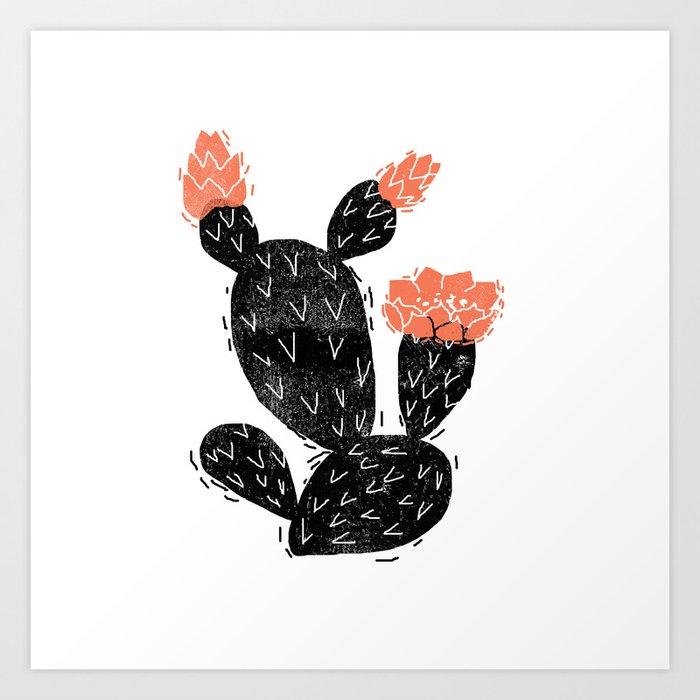Cactus linocut black and white square minimal art hipster for Minimal art black and white