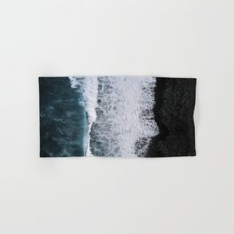 Aerial of a Black Sand Beach with Waves - Oceanscape Hand & Bath Towel