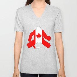 Canadian Flag Goalie Unisex V-Neck