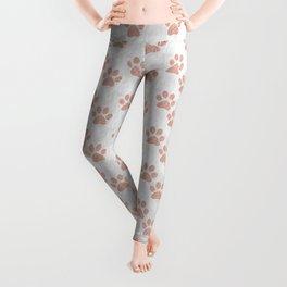 Rose Gold Paw Print Pattern Leggings