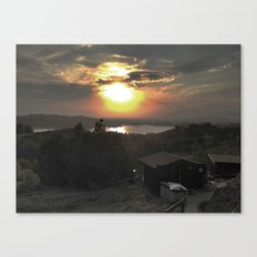 Sunset and Cabin Canvas Print