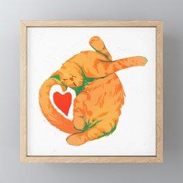 Sunday cat Framed Mini Art Print