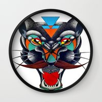 panther Wall Clocks featuring panther by Ronan Holdsworth