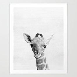 Baby Giraffe Peekaboo print Art Print