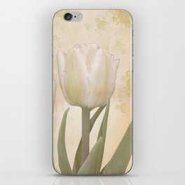 Painterly tulips with golden water splashes, vintage look iPhone Skin