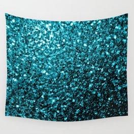 Beautiful Aqua blue glitter sparkles Wall Tapestry