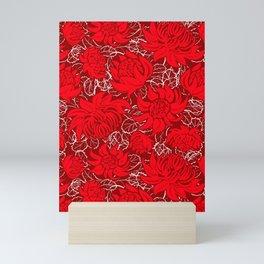 Waratah flowers on dark red background Mini Art Print