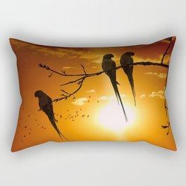 Gracious Trio Of Marvelous Parrots At Romantic Sunset Ultra HD Rectangular Pillow