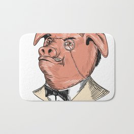 Aristocrat Pig Monocle Tuxedo Drawing Bath Mat