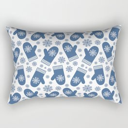 Wintery Blue Snowflake Mittens Rectangular Pillow