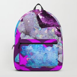 SPARKLY WHITE-BLUE & AMETHYST QUARTZ CRYSTALS PURPLE ART Backpack