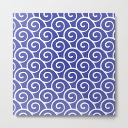 Wave Pattern Blue Metal Print
