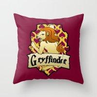 gryffindor Throw Pillows featuring Gryffindor Crest by AriesNamarie
