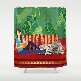 Jungle Dream With Leopard Shower Curtain