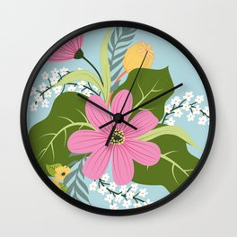 Blooming Colourful Composition Wall Clock