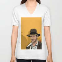 indiana jones V-neck T-shirts featuring Indiana by Akyanyme