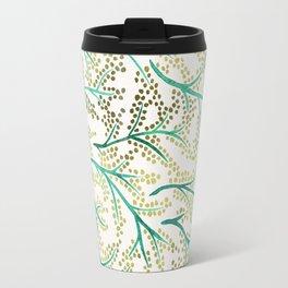 Green & Gold Branches Travel Mug