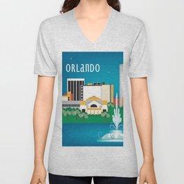 Orlando, Florida - Skyline Illustration by Loose Petals Unisex V-Neck