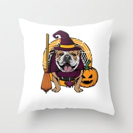 Witch Bulldog Dog Costume For Spooky Halloween Throw Pillow