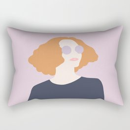 Orange Hair Girl // Minimalist Indie Rock Music Festival Lavender Sunglasses by Mighty Face Designs Rectangular Pillow