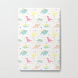 Dinosaur Pattern Metal Print