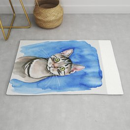 meow? // watercolor tabby cat portrait Rug