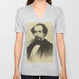 Vintage Charles Dickens Portrait Unisex V-Neck