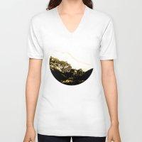 snowboard V-neck T-shirts featuring Golden Mountain by Schwebewesen • Romina Lutz