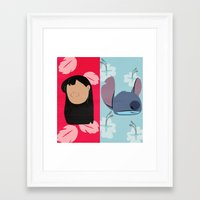 lilo and stitch Framed Art Prints featuring Lilo & Stitch by Raquel Segal
