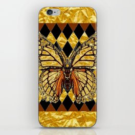 ABSTRACTED BROWN & GOLD MONARCH BUTTERFLY iPhone Skin