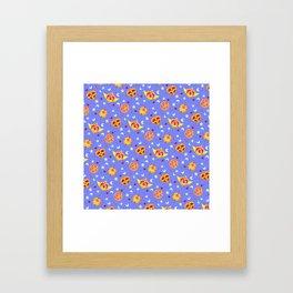 Sailor Moon Brooches Pattern - Blue / Sailor Moon Framed Art Print