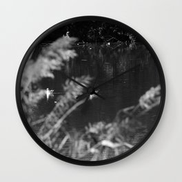 black and white country pond Wall Clock
