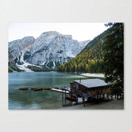 Braies Lake (Lago di Braies, Pragser Wildsee) in Dolomites mountains, Sudtirol, Italy. Canvas Print