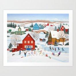 Snow Family Art Print