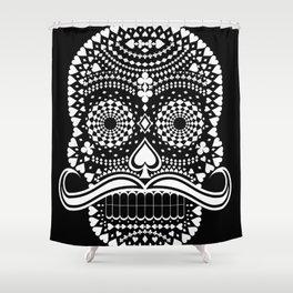 Black Skull  White Suits Shower Curtain