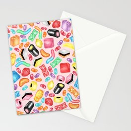 Rainbow Diet - a colorful assortment of hand-drawn candy on pale pink Stationery Cards