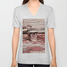 Wooden Knot And Old Red Paint Over Wooden Planks Unisex V-Neck