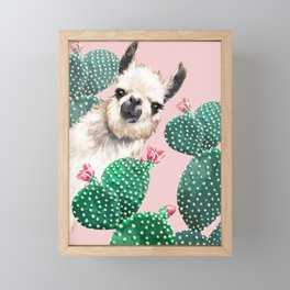 Llama and Cactus Pink Framed Mini Art Print
