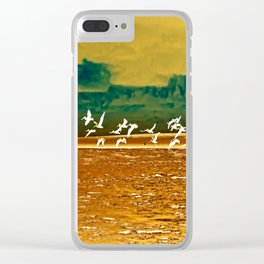 A Flock of White Pelicans Watercolor Clear iPhone Case