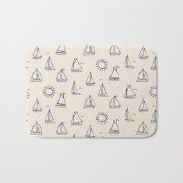 Sunny Sailboats Sketch on Cream Bath Mat