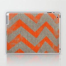 Orange chevron on linen Laptop & iPad Skin
