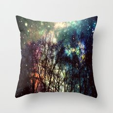 Black Trees Deeply Colorful Space Throw Pillow