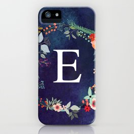 Personalized Monogram Initial Letter E Floral Wreath Artwork iPhone Case