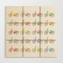Colorful bikes Wood Wall Art