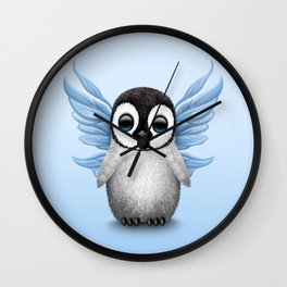 Cute Baby Penguin with Blue Fairy Wings Wall Clock