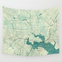 baltimore Wall Tapestries featuring Baltimore Map Blue Vintage by City Art Posters